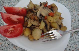 Жареный картофель с шампиньонами (пошаговый фото рецепт)