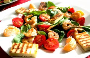 Теплый салат с креветками (пошаговый фото рецепт)