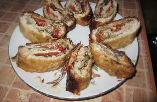 Куриный рулет с овощами (пошаговый фото рецепт)