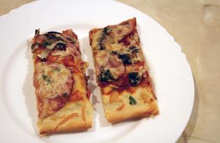 Пицца с ветчиной и шампиньонами (пошаговый фото рецепт)