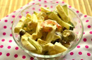 Салат с огурцами, яйцами и креветками (пошаговый фото рецепт)