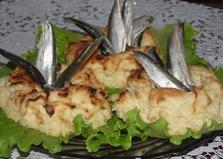 Картофельный фонтан с килькой (пошаговый фото рецепт)