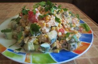 Овощной салат с курицей (пошаговый фото рецепт)