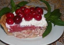 Клубнично - творожный десерт с вишнями (пошаговый фото рецепт)
