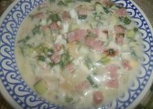 Окрошка с колбасой на сыворотке (пошаговый фото рецепт)