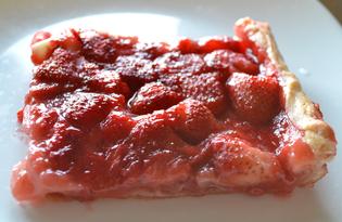 Открытый слоеный пирог с клубникой (пошаговый фото рецепт)