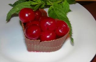 Шоколадные корзинки с вишнями (пошаговый фото рецепт)