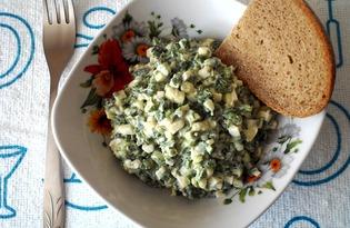Простой салат с яйцом и зеленым луком (пошаговый фото рецепт)