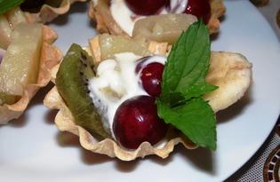 Сладкие тарталетки с ягодами и фруктами (пошаговый фото рецепт)