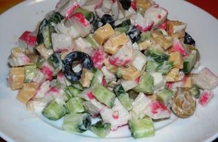 Сырный салат из крабовых палочек, огурцов и маслин (пошаговый фото рецепт)