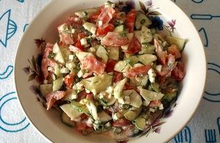 Салат из огурцов, помидоров и яиц (пошаговый фото рецепт)