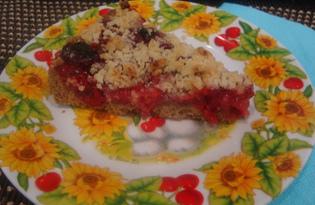 Вишневый пирог из песочного теста (пошаговый фото рецепт)