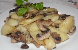 Томленный картофель с грибами и луком (пошаговый фото рецепт)