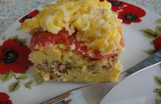 Макаронная запеканка с фаршем и помидором (пошаговый фото рецепт)