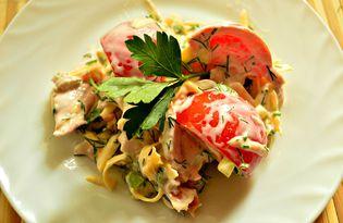 Салат с копченой курицей и помидорами (пошаговый фото рецепт)