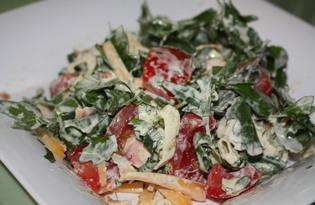 Салат с рукколой и омлетом (пошаговый фото рецепт)