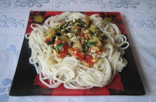 Спагетти с кабачками, помидорами и зеленью (пошаговый фото рецепт)