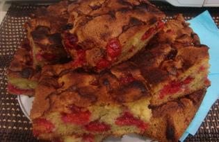 Простой пирог с вишней (пошаговый фото рецепт)