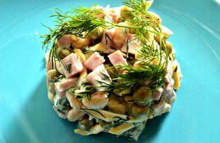 Сырный салат с белой фасолью (пошаговый фото рецепт)