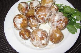 Запеченный молодой картофель с чесночным соусом (пошаговый фото рецепт)