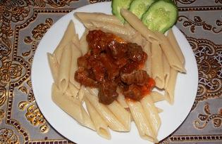 Макароны с соусом из говядины (пошаговый фото рецепт)