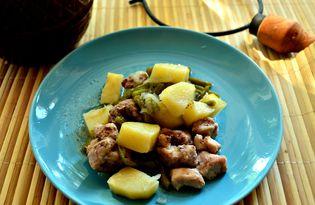 Картофель со свининой и стручковой фасолью (пошаговый фото рецепт)