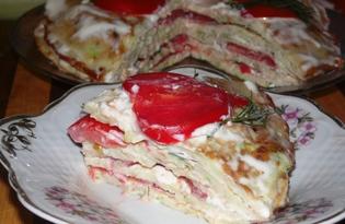 Закусочный торт из кабачков (пошаговый фото рецепт)
