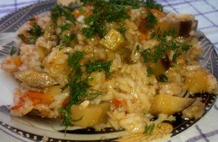 Рис тушеный с баклажанами (пошаговый фото рецепт)