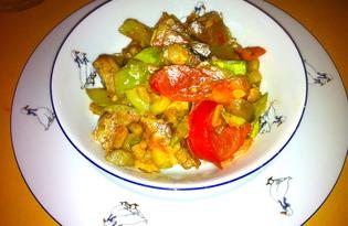 Овощное соте с отварной индейкой (пошаговый фото рецепт)