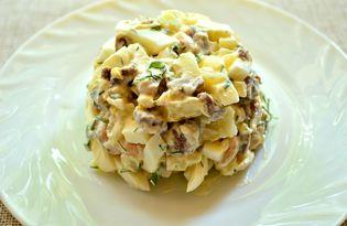 Мясной салат с фасолью и яйцами (пошаговый фото рецепт)
