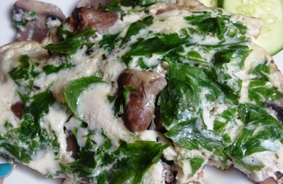 Омлет с шампиньонами и куриными сердечками (пошаговый фото рецепт)