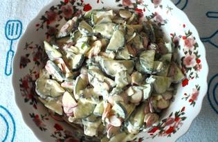 Салат из огурцов, редиса и яйца (пошаговый фото рецепт)