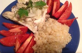 Дорадо в духовке с луком и базиликом (пошаговый фото рецепт)