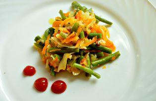 Капуста, жаренная с морковью и стручковой фасолью (пошаговый фото рецепт)