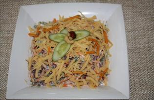 """Салат с фасолью, сыром и сухариками """"Холостяцкий"""" (пошаговый фото рецепт)"""
