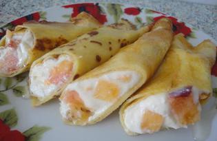 Налистники на крахмале с творожно-персиковой начинкой (пошаговый фото рецепт)