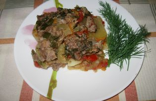 Тушеный картофель с фаршем и овощами (пошаговый фото рецепт)