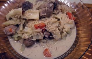 Свиной балык с рисом и капустой в соусе бешамаль (пошаговый фото рецепт)