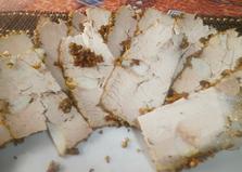 Мясо с чесноком, запеченное в духовке (пошаговый фото рецепт)