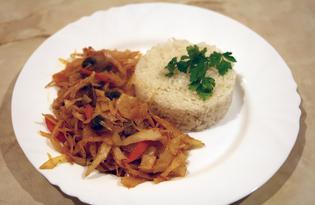 Тушеная капуста с шампиньонами и рисом (пошаговый фото рецепт)