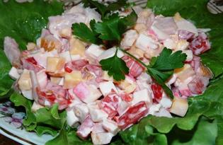 Салат из помидоров, копченой курицы и крабовых палочек (пошаговый фото рецепт)
