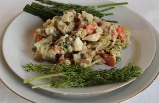 Сытный салат сёрф-н-тёрф (пошаговый фото рецепт)