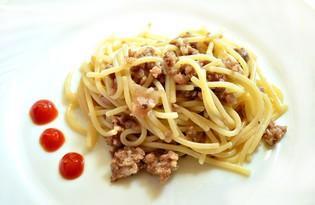 Спагетти с мясным фаршем (пошаговый фото рецепт)