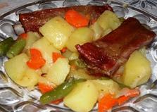 Рагу с копчеными ребрышками (пошаговый фото рецепт)