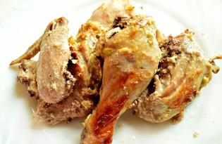 Курица под сметано - чесночным соусом, запечённая в фольге (пошаговый фото рецепт)