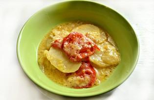 Капуста, тушенная с картофелем, помидорами и сыром (пошаговый фото рецепт)