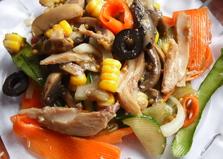 Китайский салат с грибами и курицей (пошаговый фото рецепт)