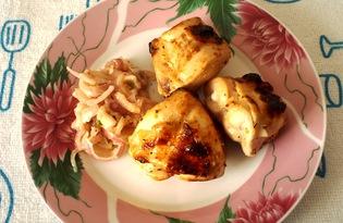 Куриный шашлык, маринованный в кефире с луком (пошаговый фото рецепт)