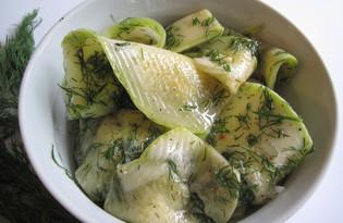 Закуска из кабачков (быстрый способ маринования) (пошаговый фото рецепт)