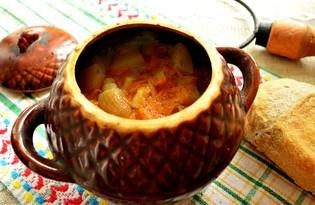 Капуста в горшочке с куриным филе и картофелем (пошаговый фото рецепт)